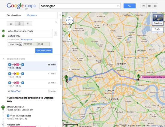 google maps integrates london underground public transport directions