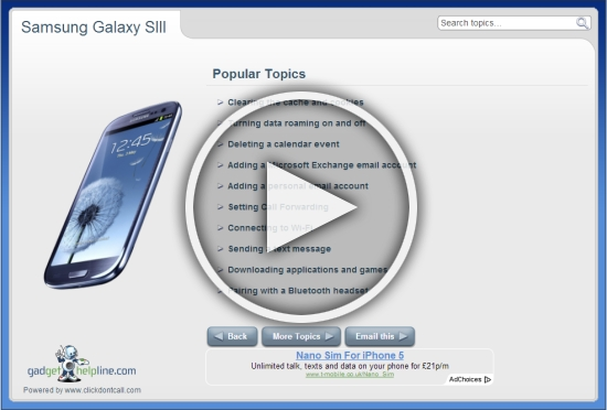 Samsung Galaxy SIII Interactive Guide – An online manual for your Android Jelly Bean smartphone