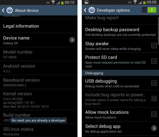 How to enable developer options on the samsung galaxy s4 ccuart Gallery