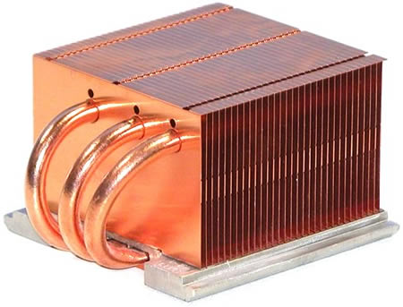 Huge heat sinks, such as this one, make cooling a processor require much more space. A smaller chip needs a smaller heat sink, which frees up more space.