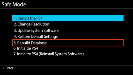 PS4 Safe mode Rebuild