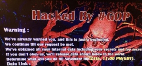 Spooky Scary Skeletons: The image which the hackers left on the Sony pictures website.